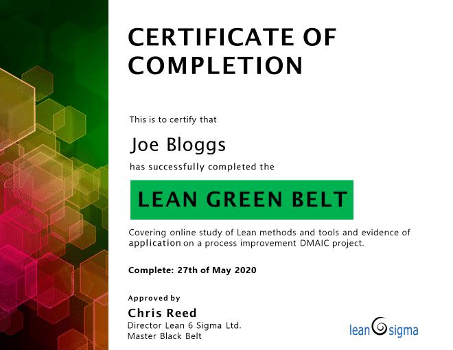 Example LGB certificate