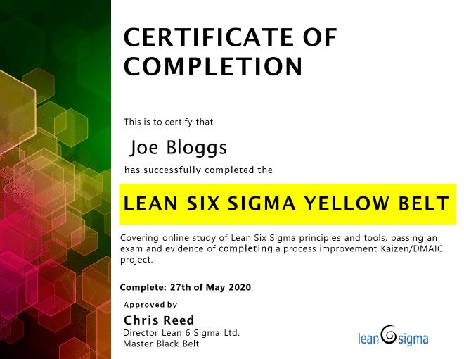 Example LSSYB Certificate