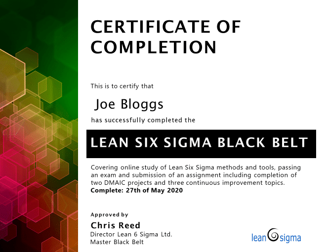 example LSSBB certificate